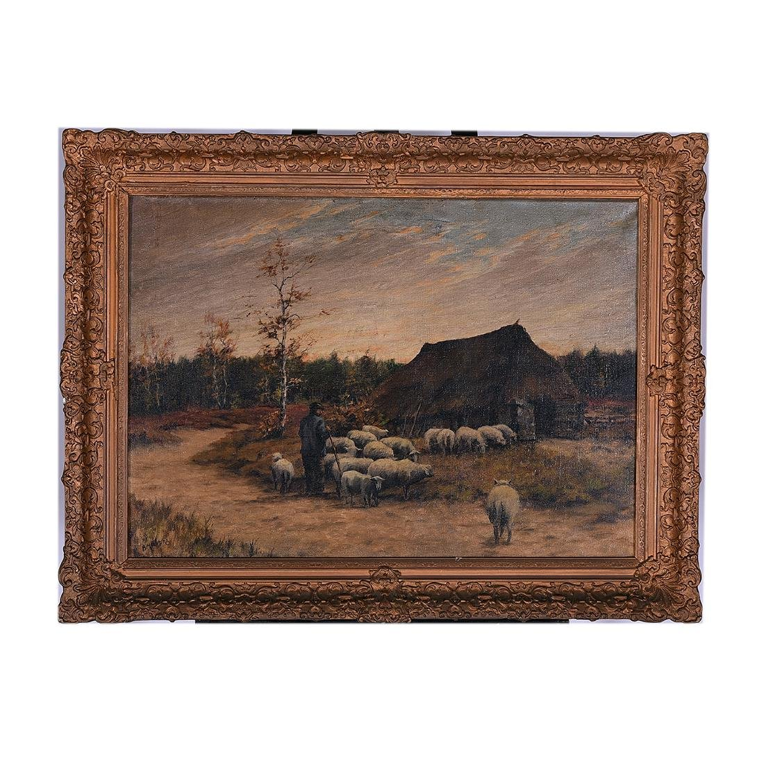 "B. Medema ""Tending the Flock"" oil on canvas - 4"
