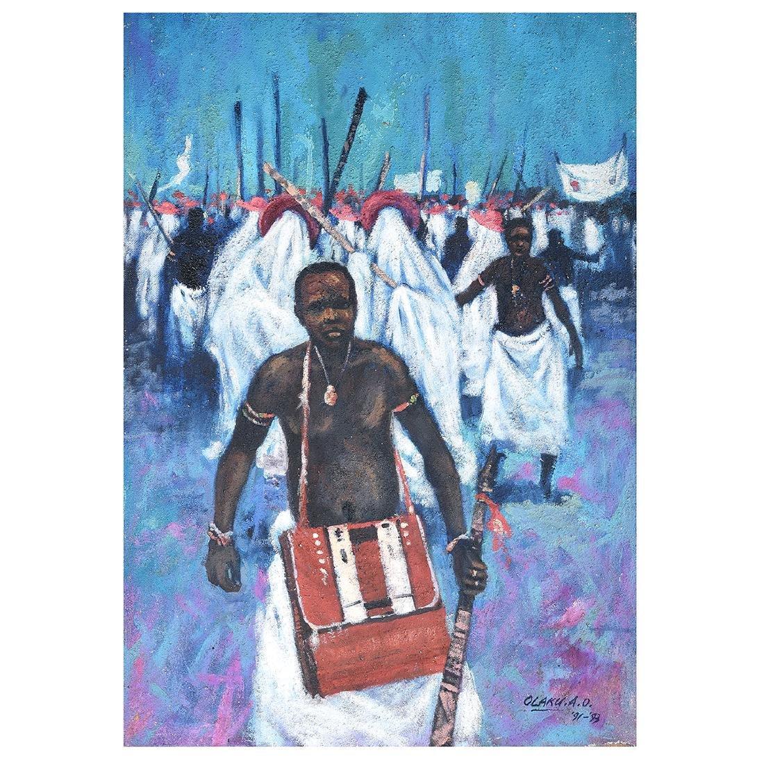 """Abiodun Olaku """"Group March"""" oil on textured canvas"""