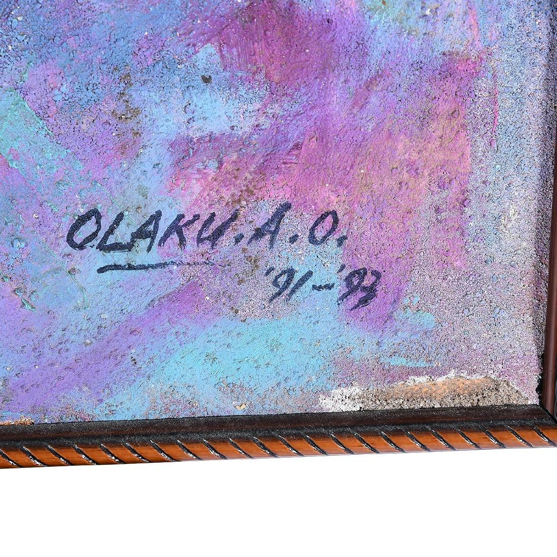 """Abiodun Olaku """"Group March"""" oil on textured canvas - 2"""