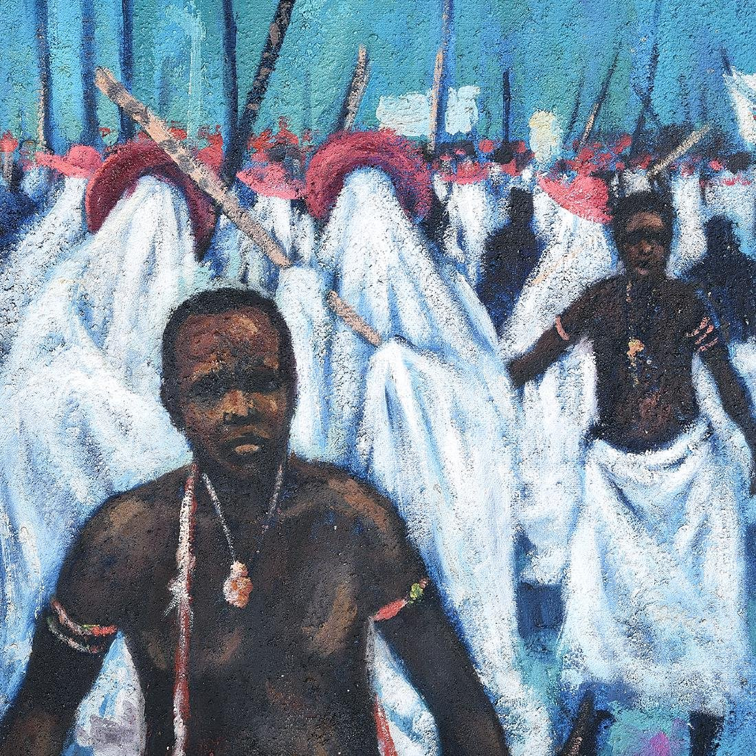 """Abiodun Olaku """"Group March"""" oil on textured canvas - 3"""