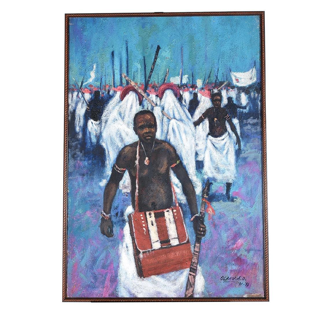 """Abiodun Olaku """"Group March"""" oil on textured canvas - 4"""