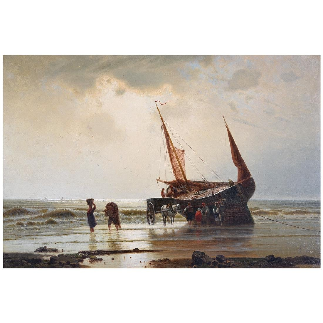 "European School ""Unloading the Catch"" oil on canvas"