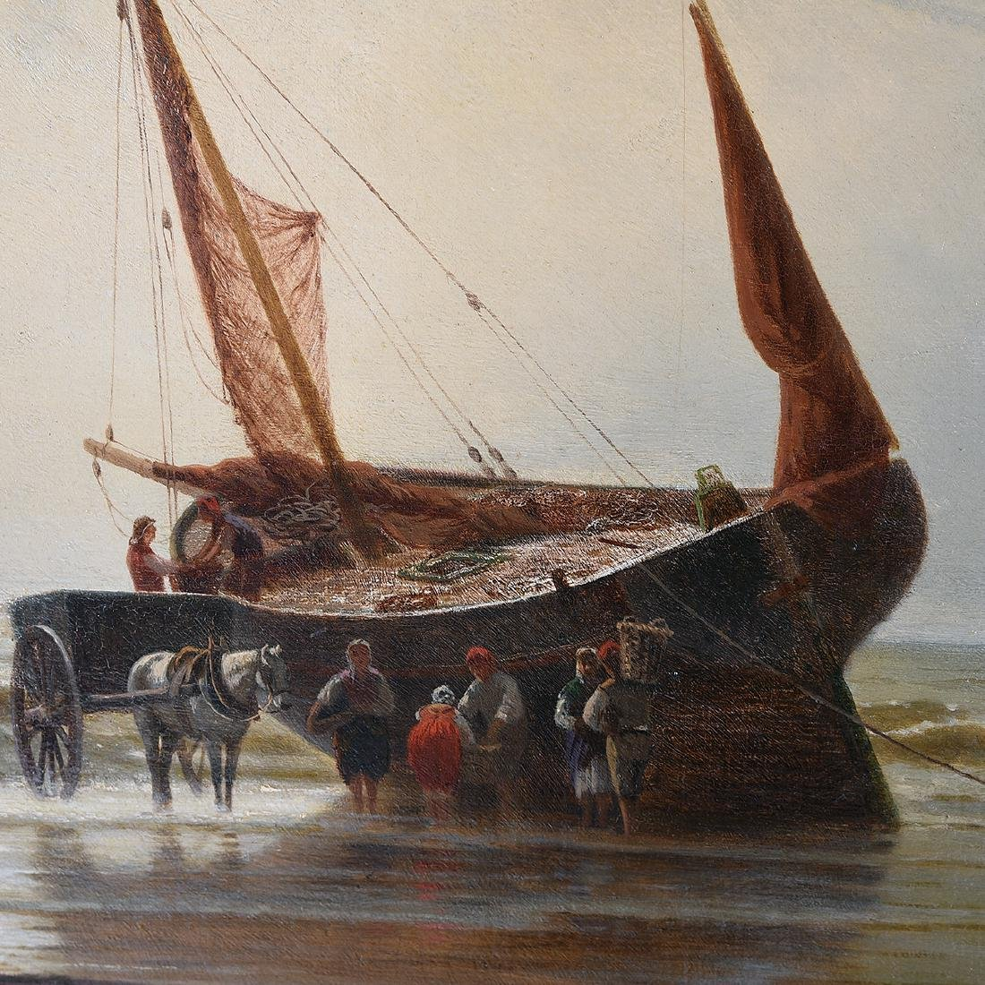 "European School ""Unloading the Catch"" oil on canvas - 4"