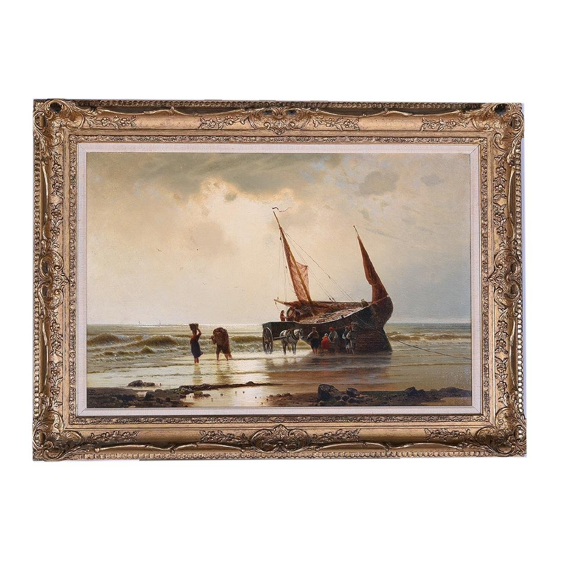 "European School ""Unloading the Catch"" oil on canvas - 5"