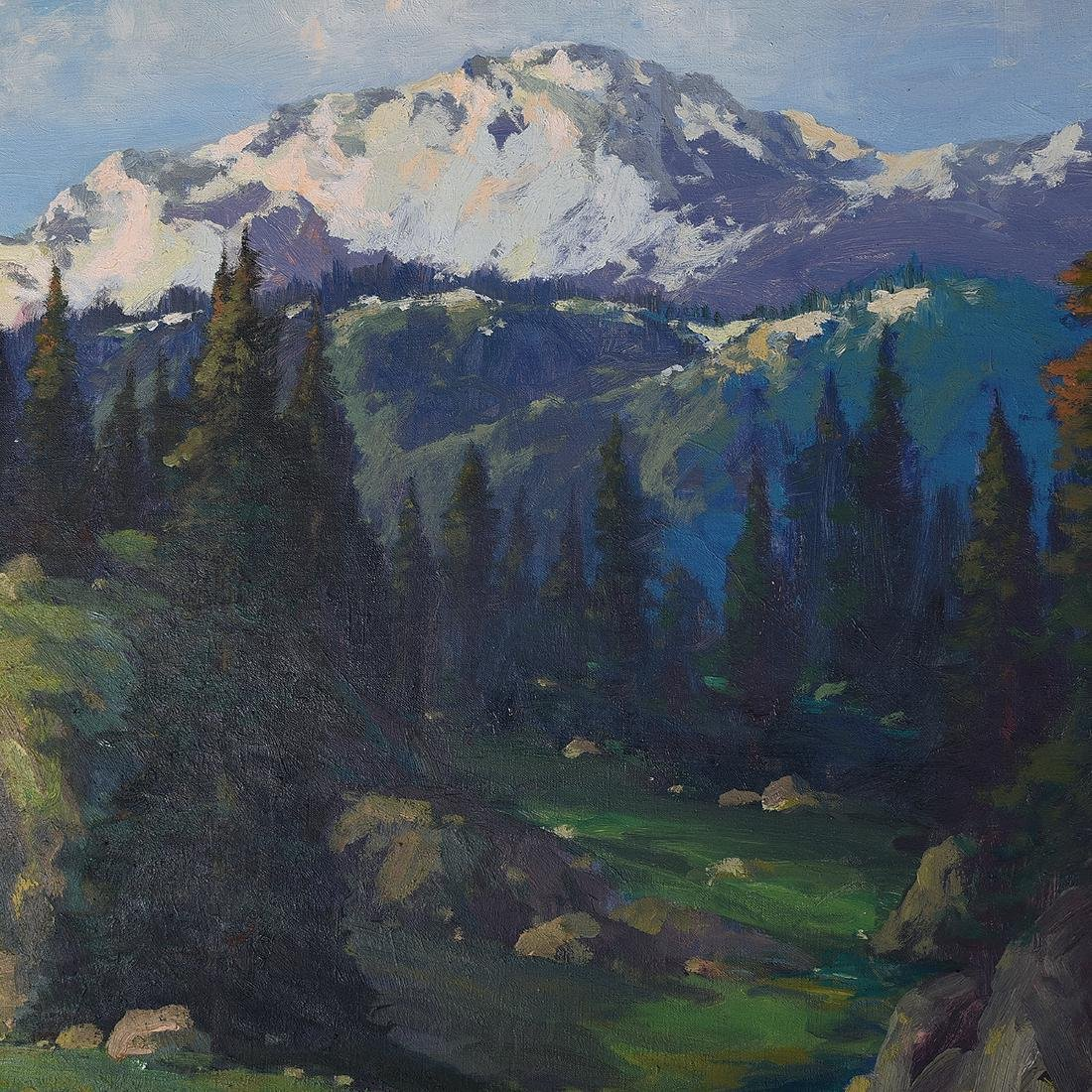 "Ernest Henry Pohl ""Pikes Peak, Colorado"" oil on canvas - 3"