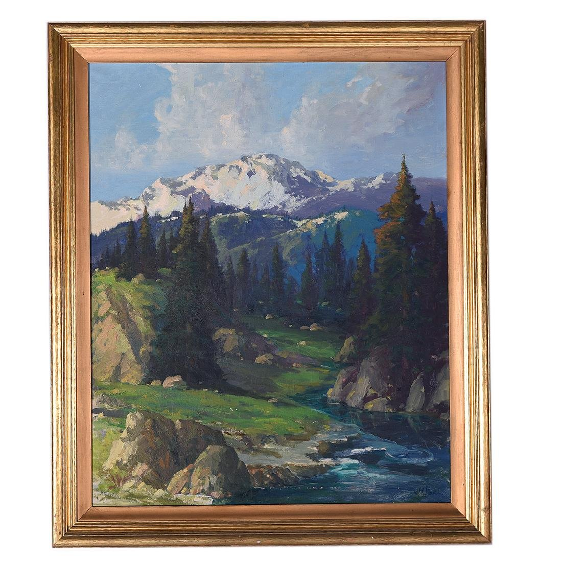 "Ernest Henry Pohl ""Pikes Peak, Colorado"" oil on canvas - 4"