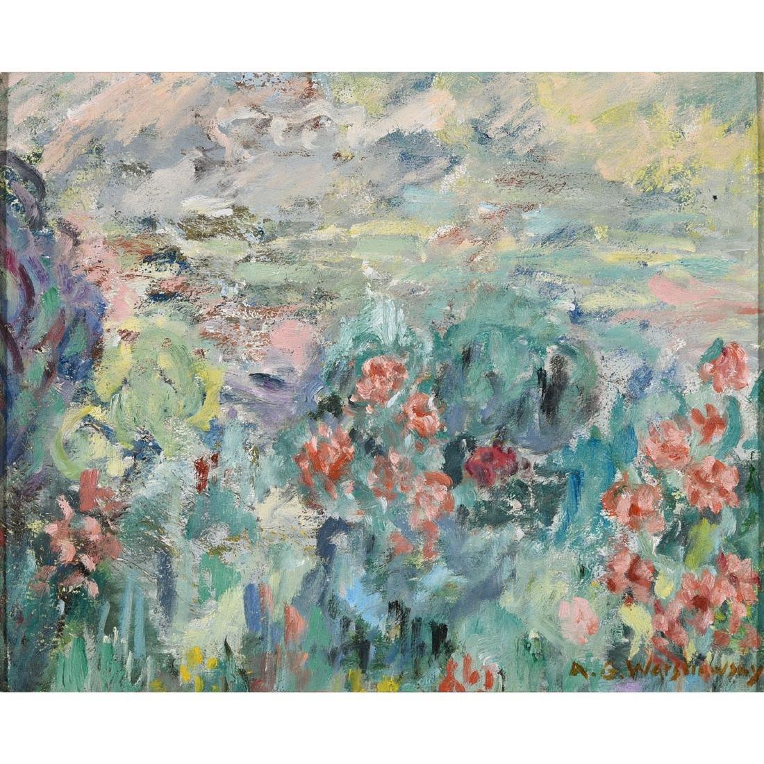 """Abel Warshawsky """"Flower Field"""" oil on masonite"""
