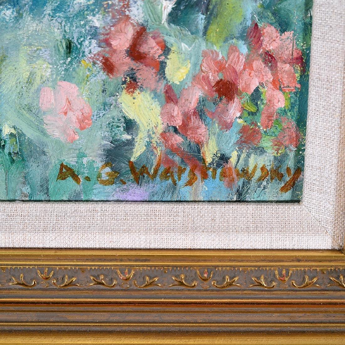 """Abel Warshawsky """"Flower Field"""" oil on masonite - 2"""