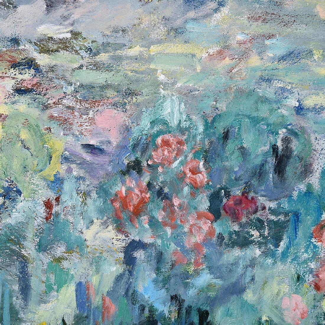 """Abel Warshawsky """"Flower Field"""" oil on masonite - 3"""