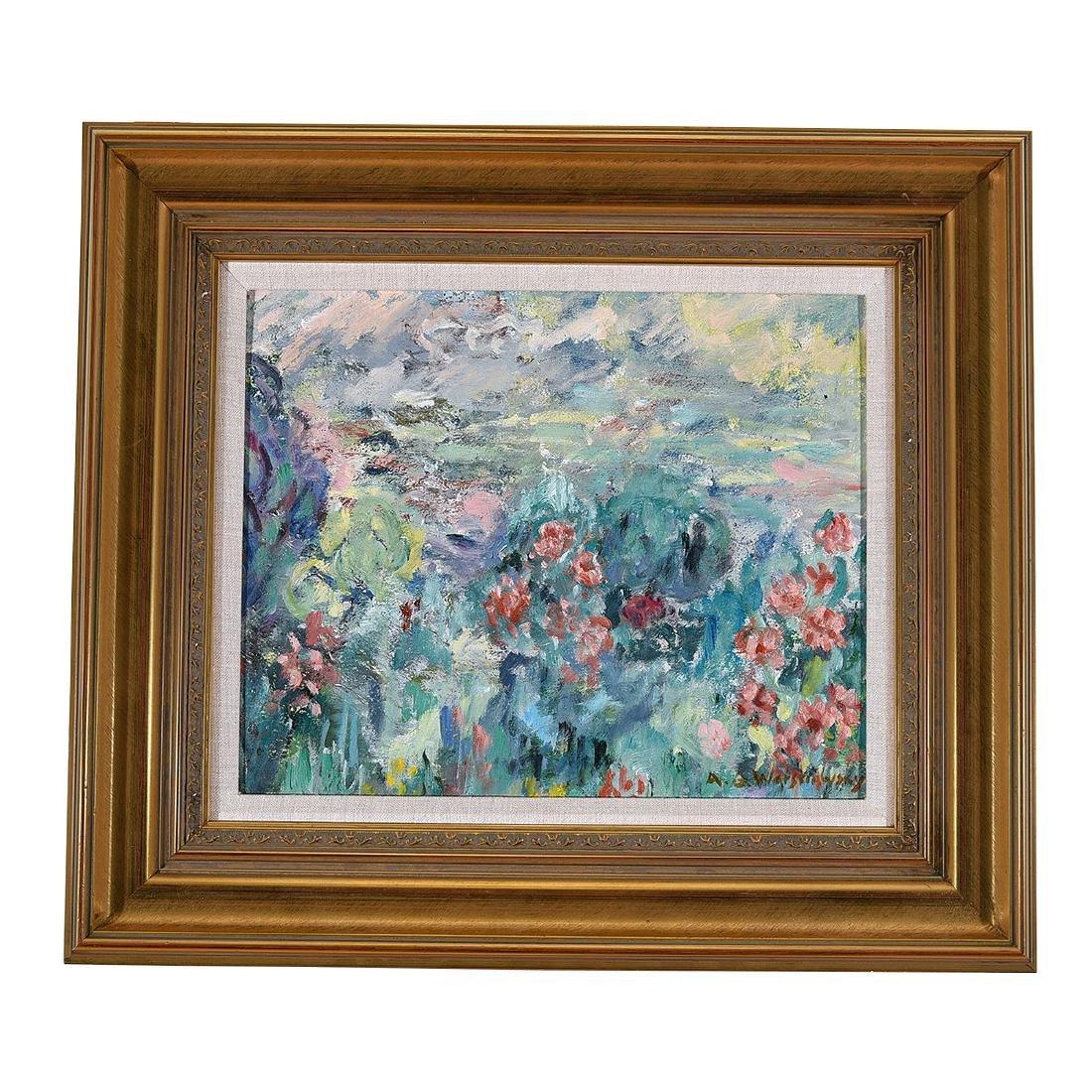 """Abel Warshawsky """"Flower Field"""" oil on masonite - 4"""