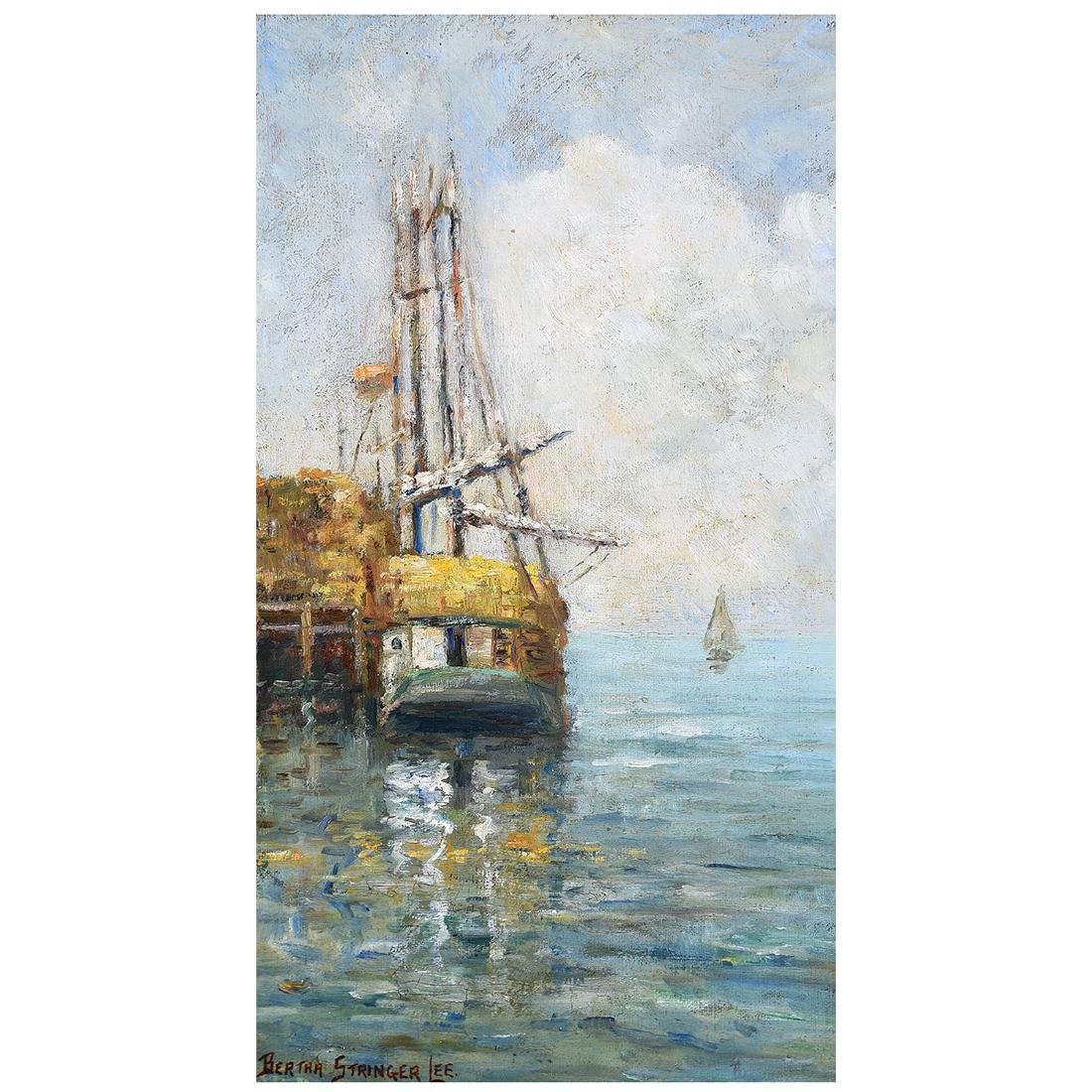 "Bertha Stringer Lee ""Sailboat in Dock"" oil on panel"