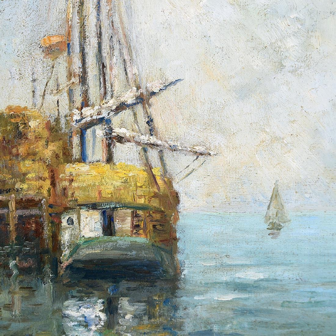 "Bertha Stringer Lee ""Sailboat in Dock"" oil on panel - 3"