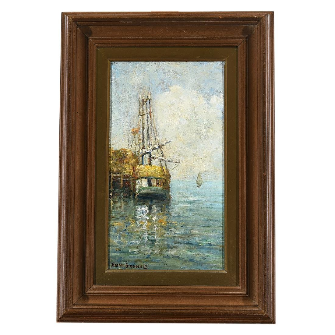 "Bertha Stringer Lee ""Sailboat in Dock"" oil on panel - 4"