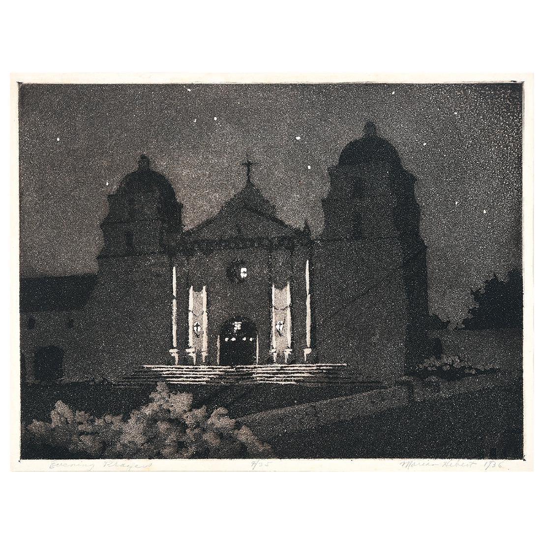 "Frances Marian Hebert ""Evening Prayers"" aquatint"