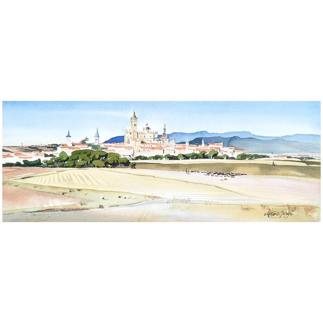 "Milford Zornes ""View of Italian City"" watercolor"