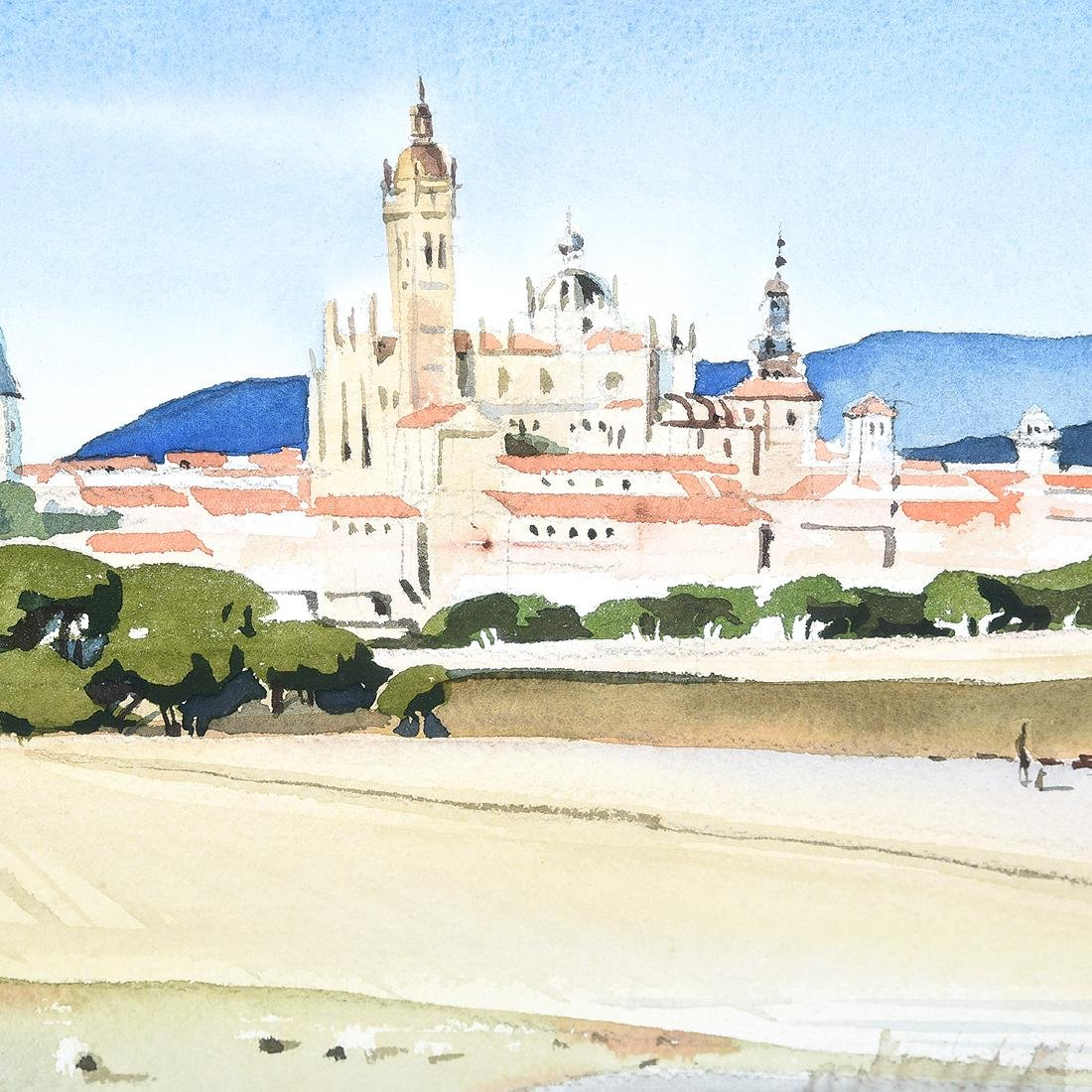 "Milford Zornes ""View of Italian City"" watercolor - 3"