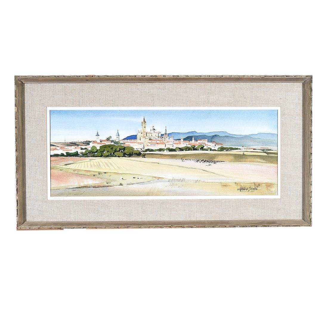 "Milford Zornes ""View of Italian City"" watercolor - 4"