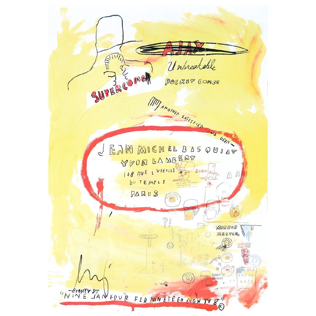 """Jean-Michel Basquiat """"Supercomb"""" exhibition poster from"""