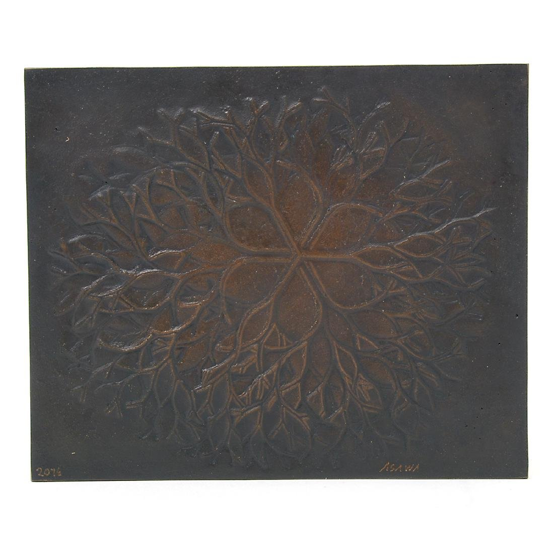 """Ruth Asawa """"Flower with Branches"""" bronze bas relief - 2"""