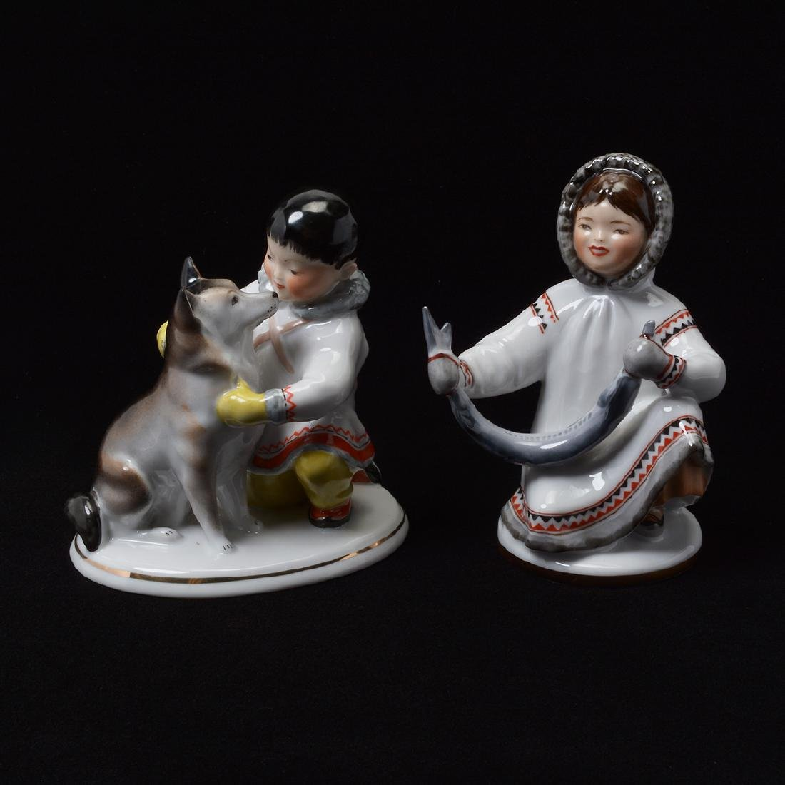 Pair of Lomonosov Porcelain Figures