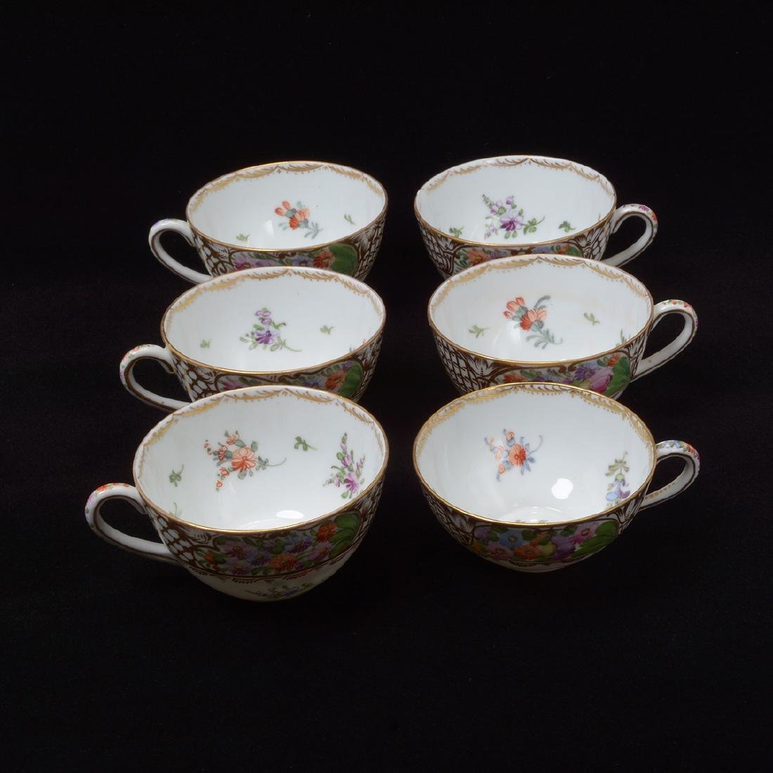 Six Dresden Tea Plates with Cups - 2