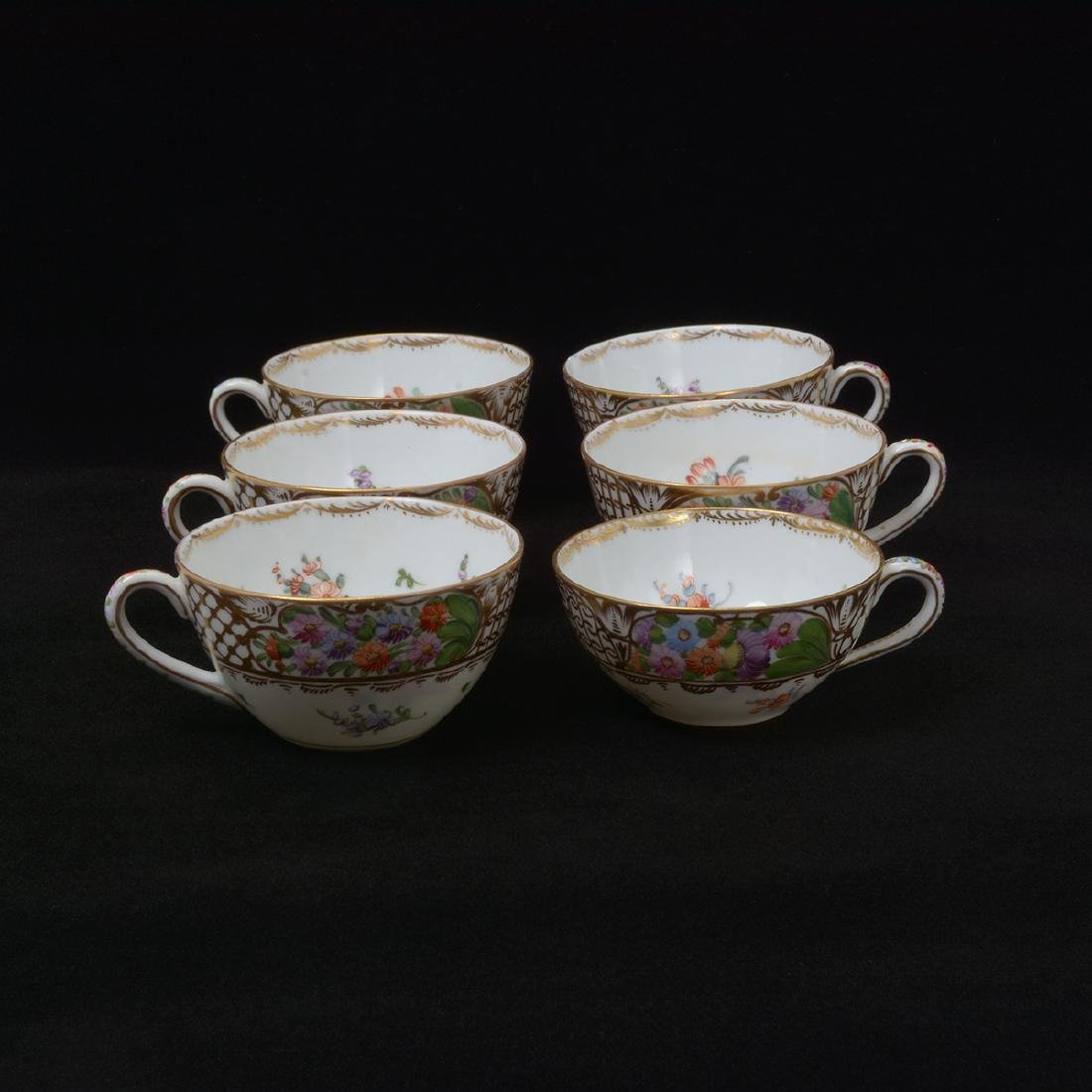 Six Dresden Tea Plates with Cups - 3