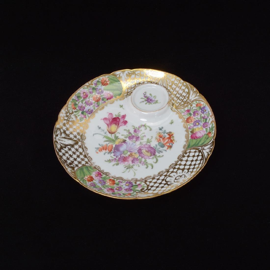Six Dresden Tea Plates with Cups - 8