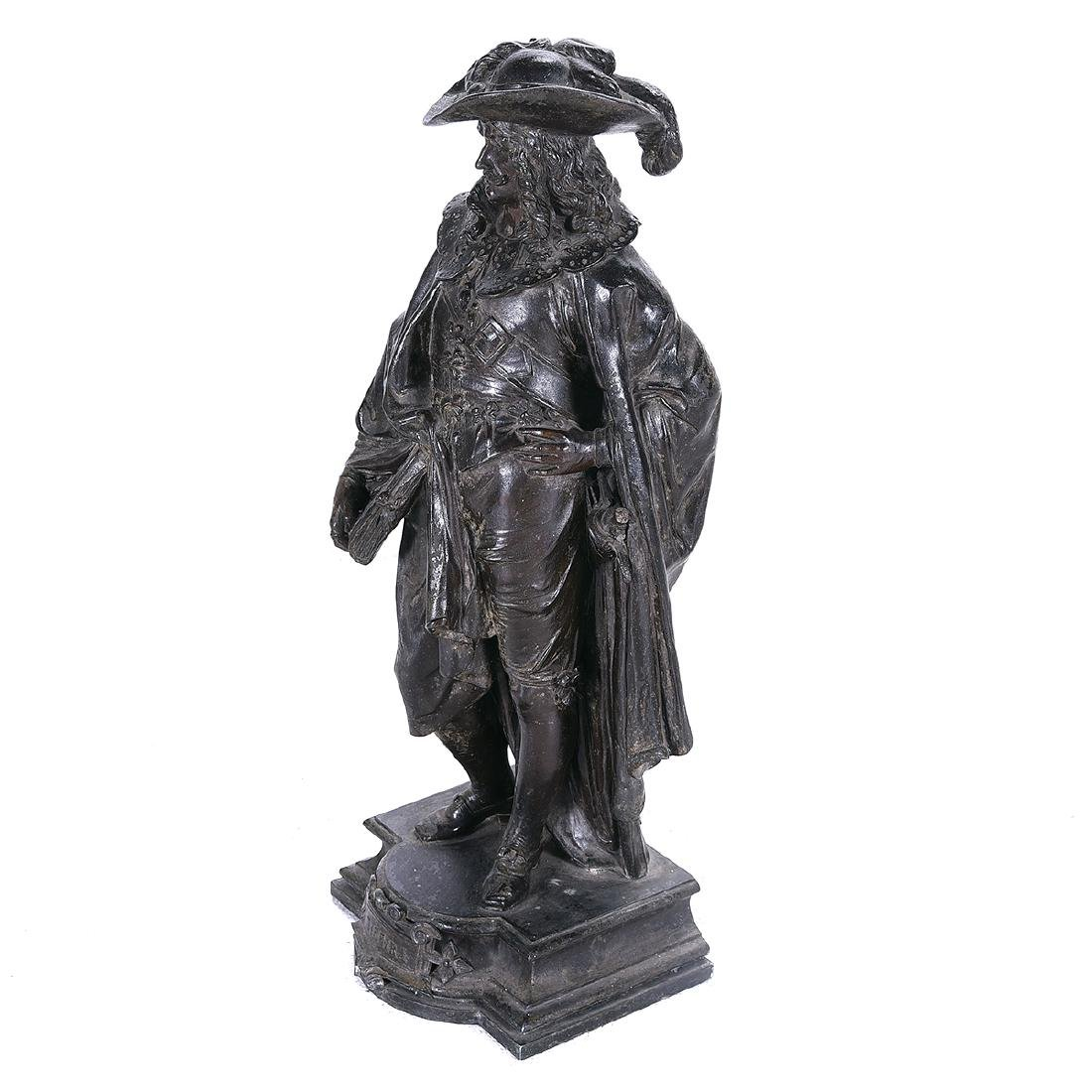 French Bronze Figure of a 17th Century Cavalier, Late - 3