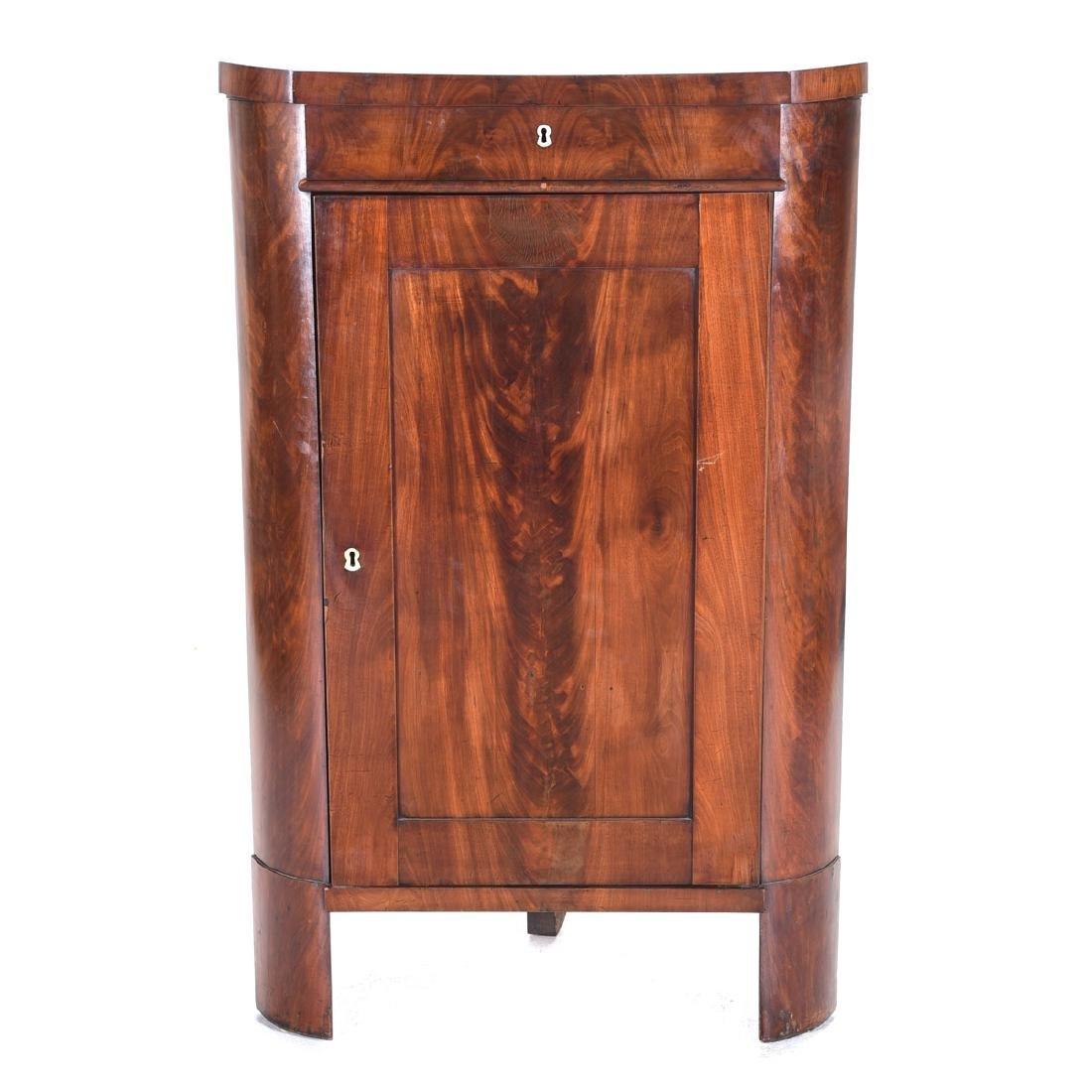 Biedermeier Style Mahogany Corner Cabinet, Horn