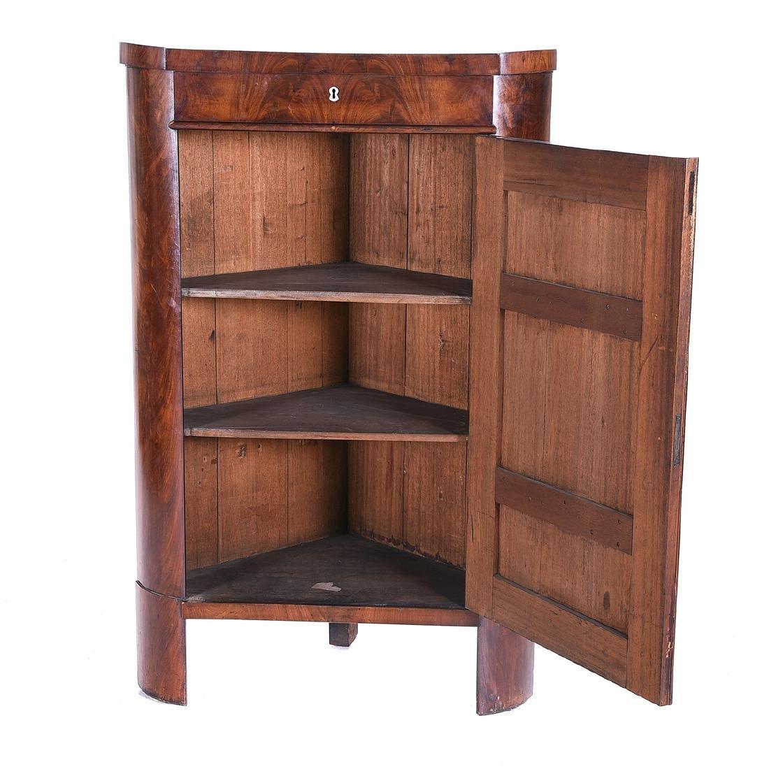 Biedermeier Style Mahogany Corner Cabinet, Horn - 5