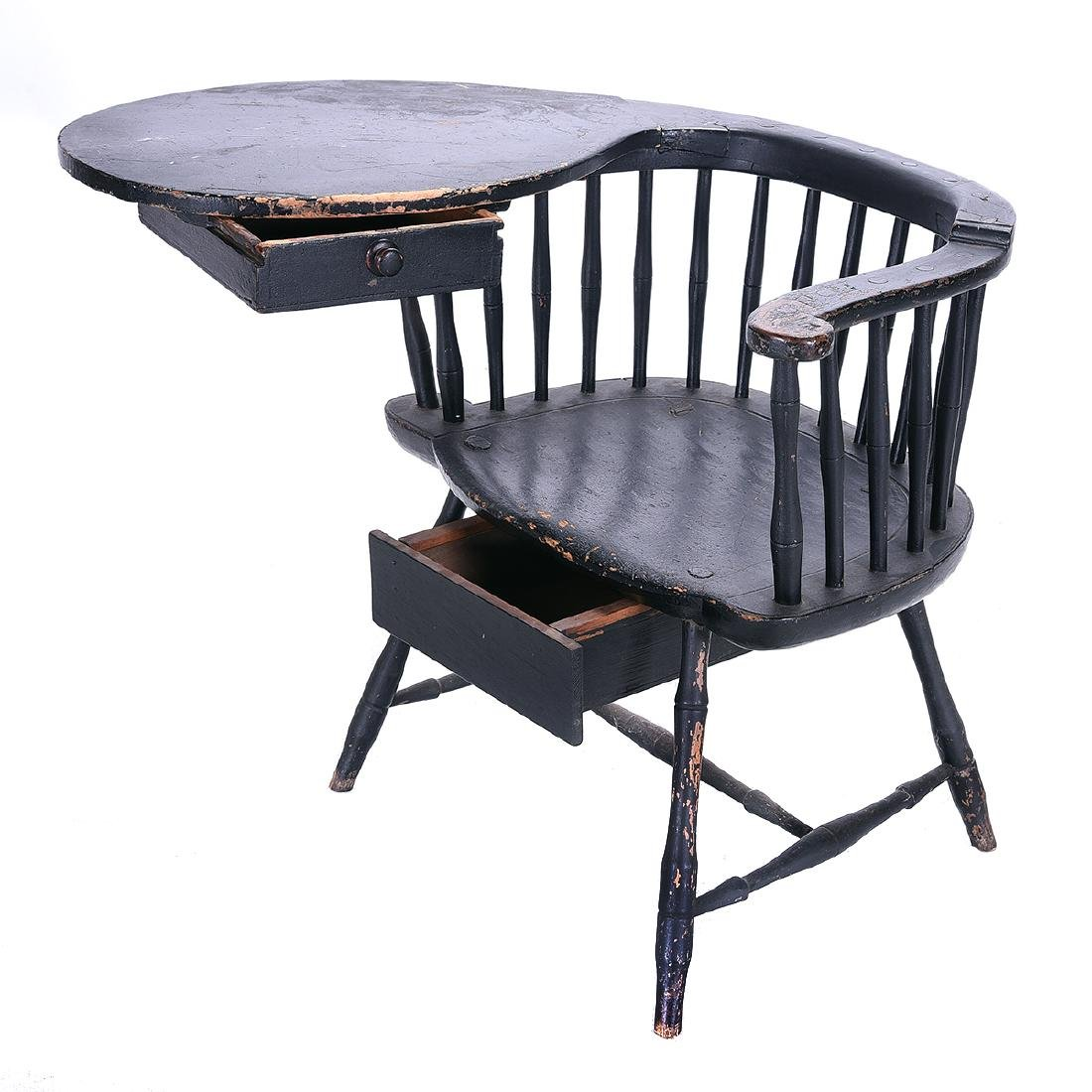 American Painted Writing Arm Windsor Chair - 2