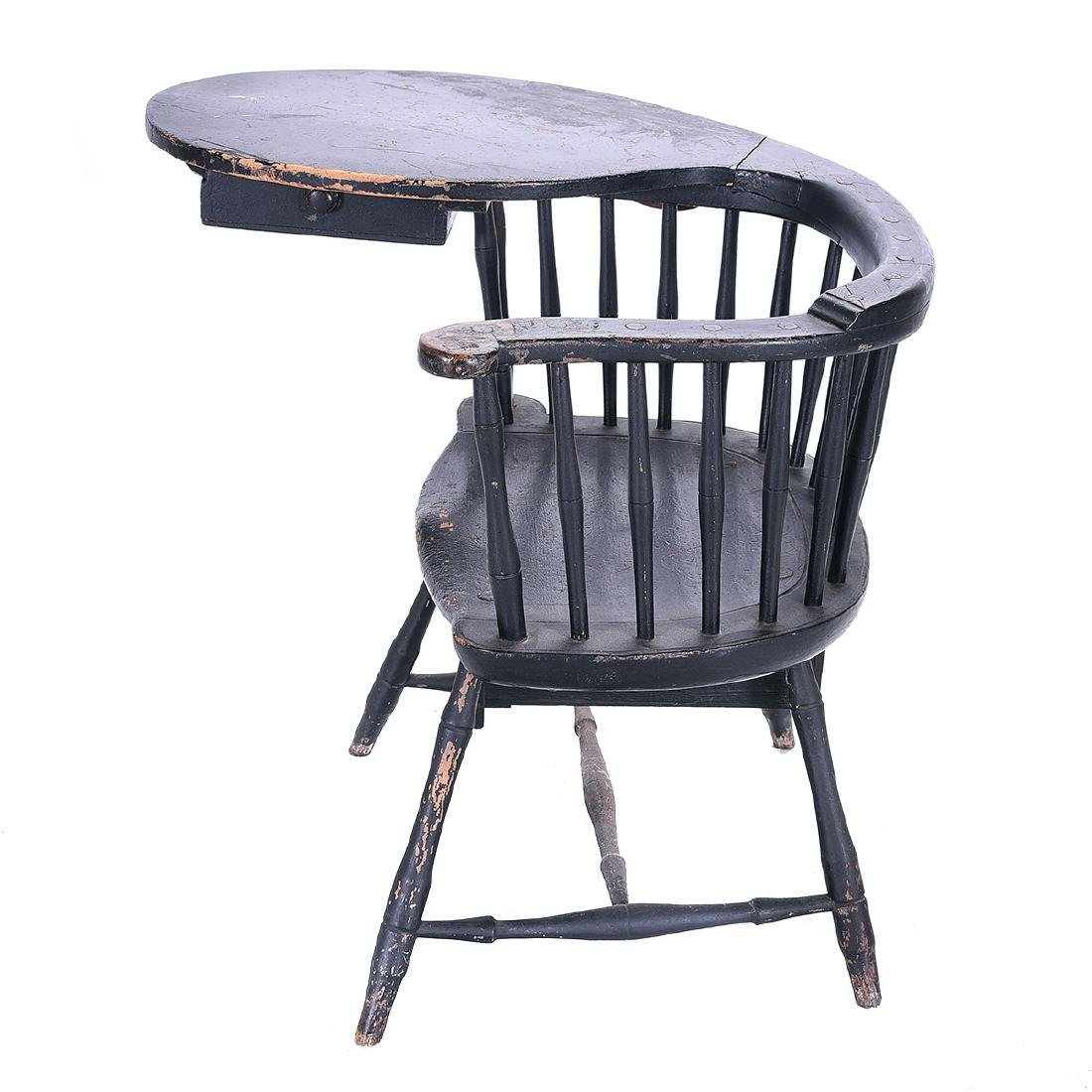American Painted Writing Arm Windsor Chair - 4