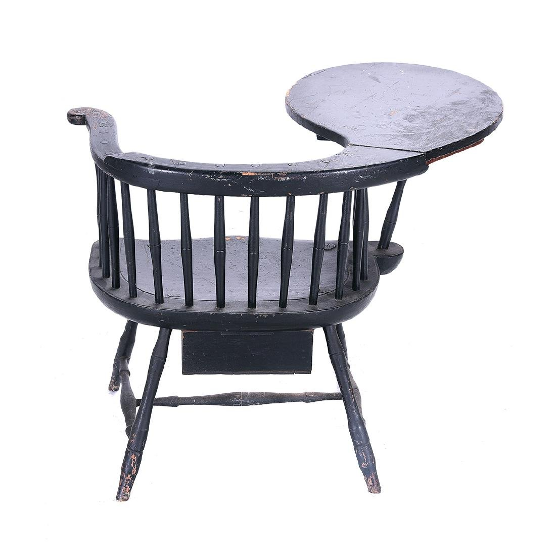 American Painted Writing Arm Windsor Chair - 5