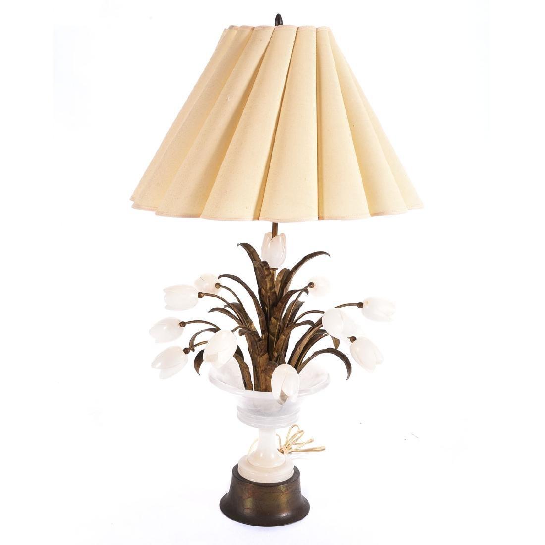 Italian Alabaster Tulip Table Lamp