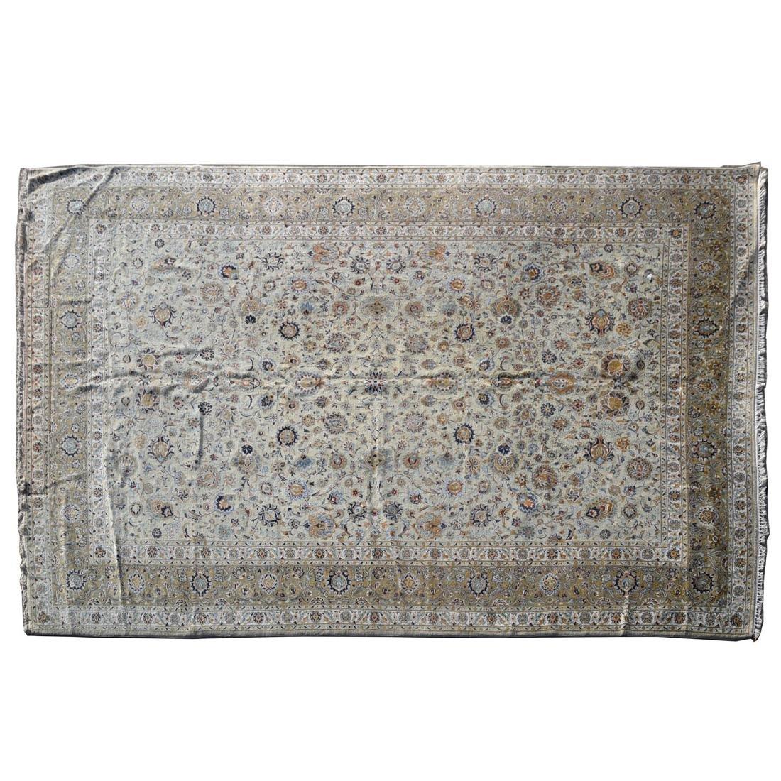 Large Indo-Kashan Ivory Field Wool Carpet