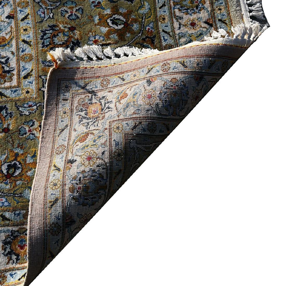 Large Indo-Kashan Ivory Field Wool Carpet - 3