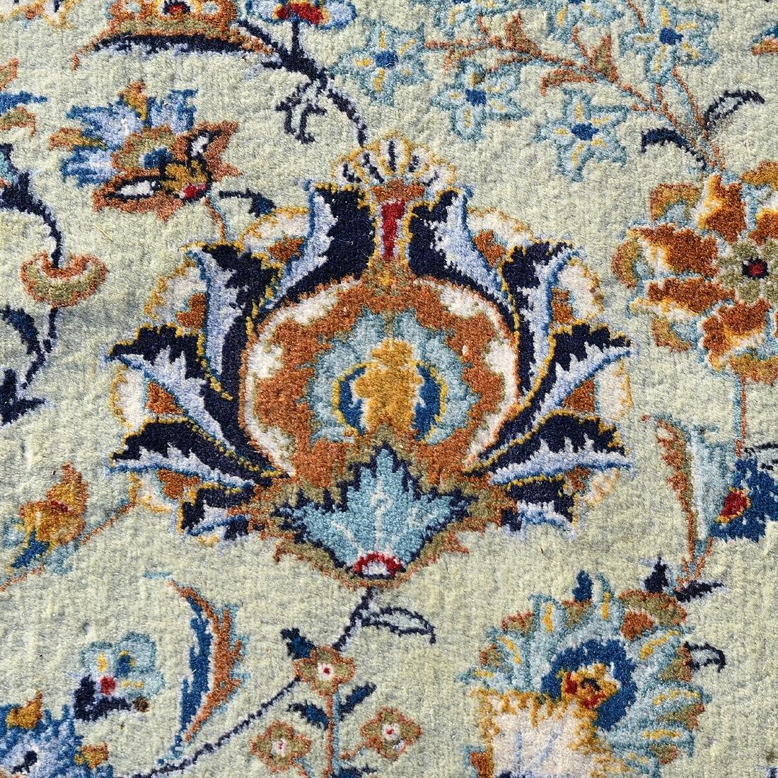 Large Indo-Kashan Ivory Field Wool Carpet - 4