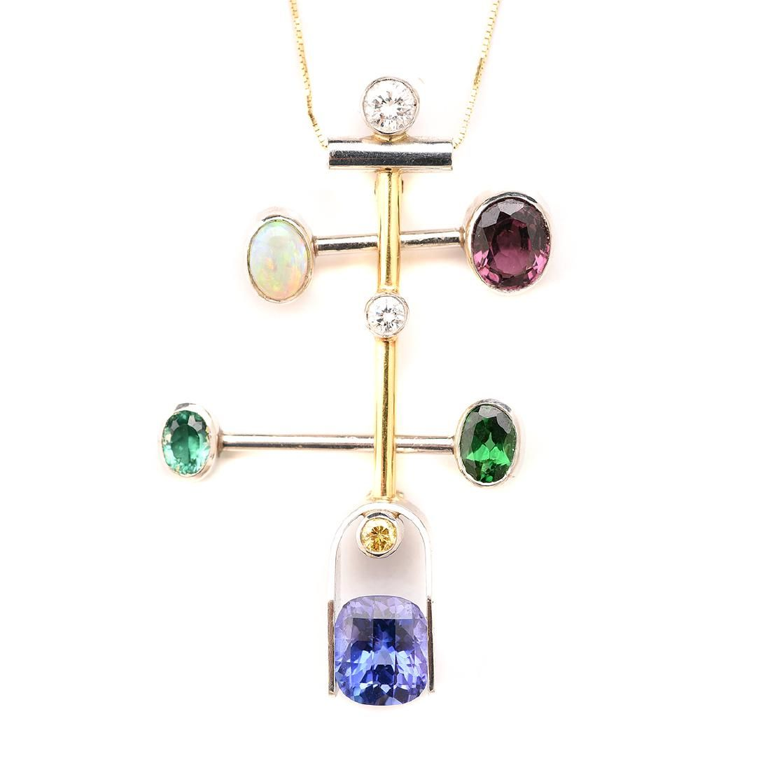 Modernist Diamond, Multi-Stone, Platinum, 18k Yellow