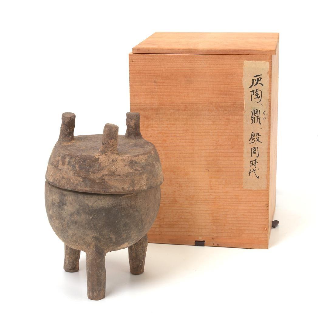Pottery Tripod Vessel and Lid, Western Zhou Dynasty