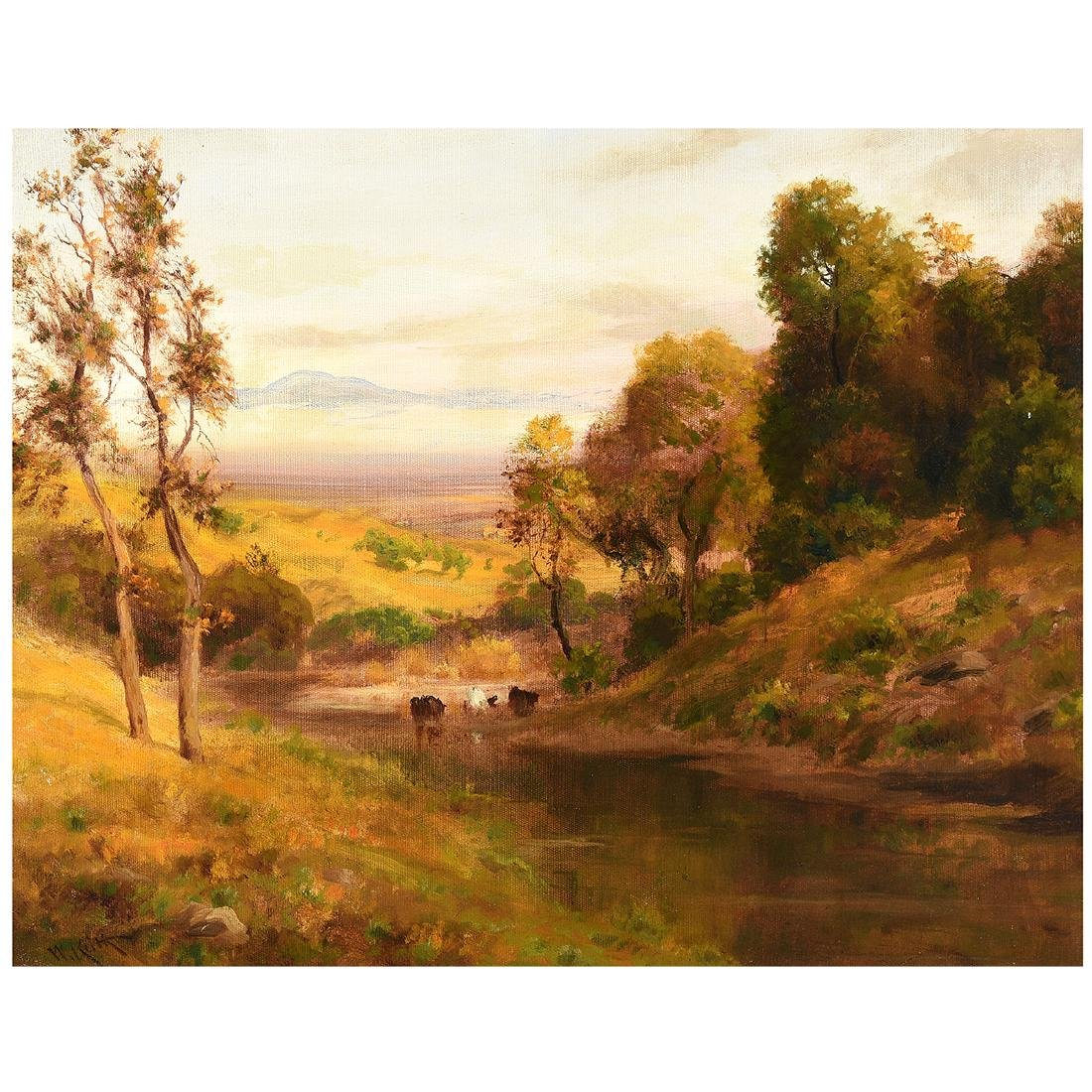 """William Keith """"Cows in a Pasture"""" oil on canvas"""