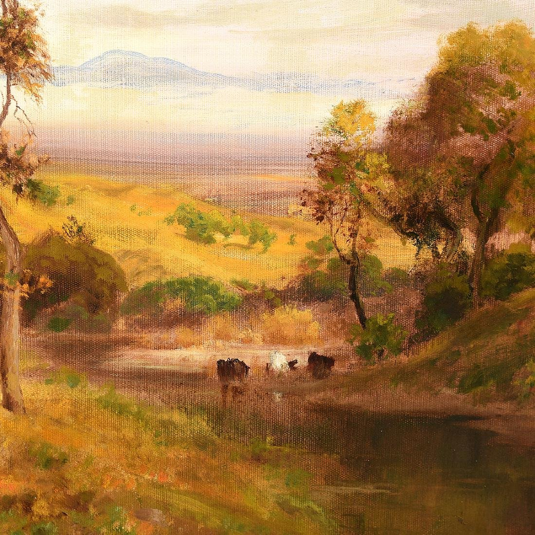 "William Keith ""Cows in a Pasture"" oil on canvas - 3"