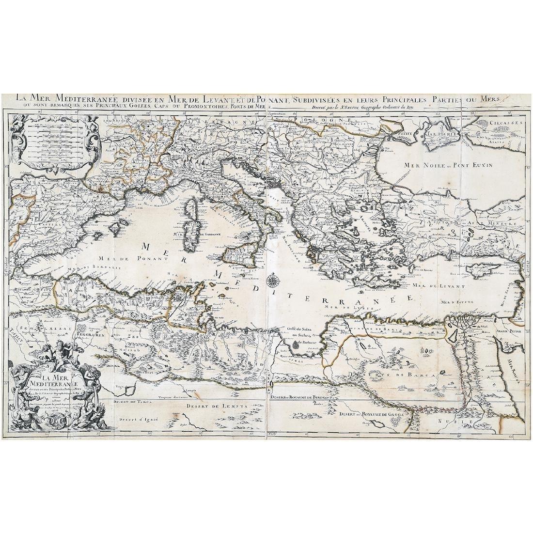 Framed Antique Map, La Mer Mediterranee, Kaillot, 1692