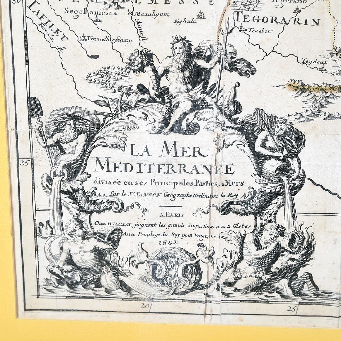 Framed Antique Map, La Mer Mediterranee, Kaillot, 1692 - 2