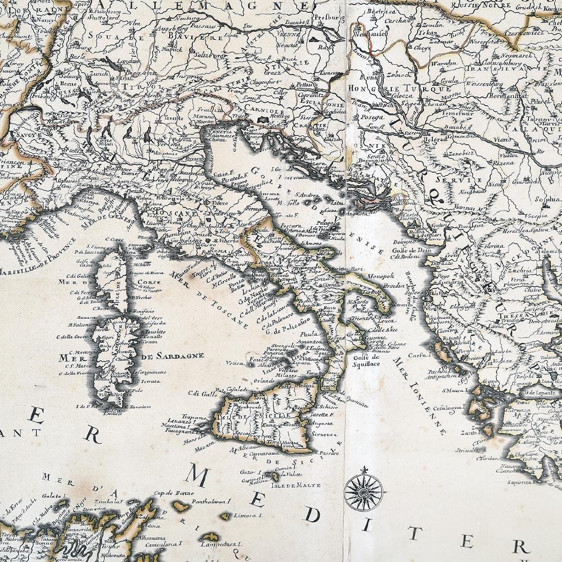 Framed Antique Map, La Mer Mediterranee, Kaillot, 1692 - 3