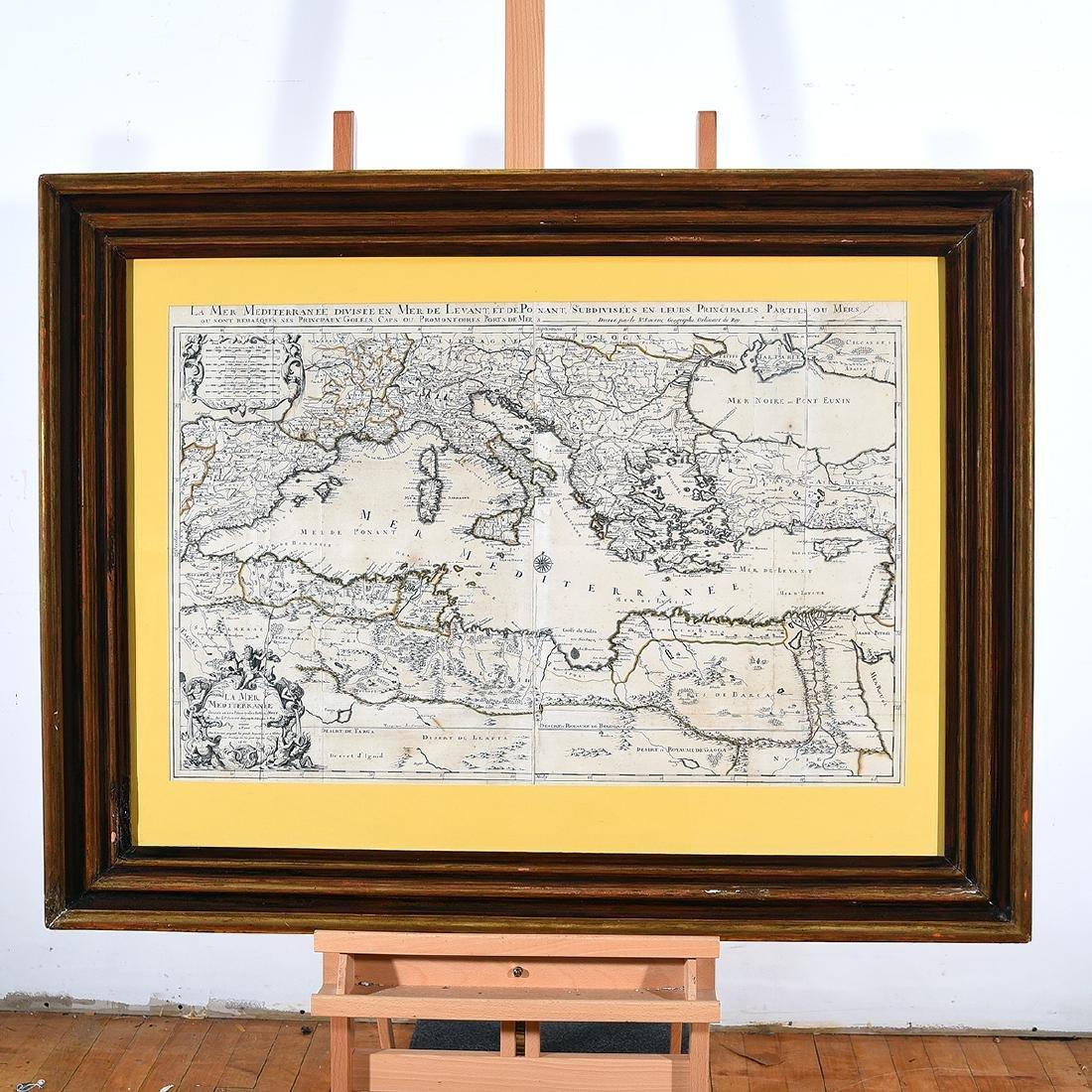 Framed Antique Map, La Mer Mediterranee, Kaillot, 1692 - 4