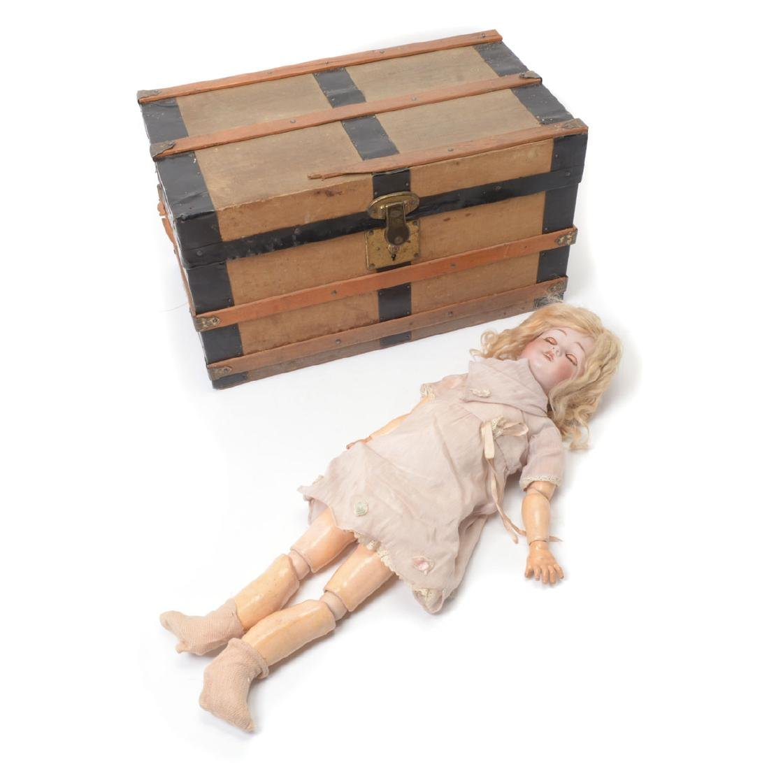 Bisque Head Doll with Doll Trunk