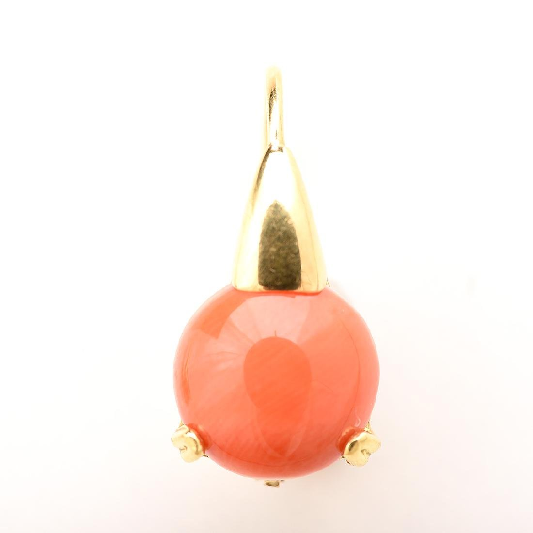 *Pair of Coral, 18k Yellow Gold Earrings. - 2