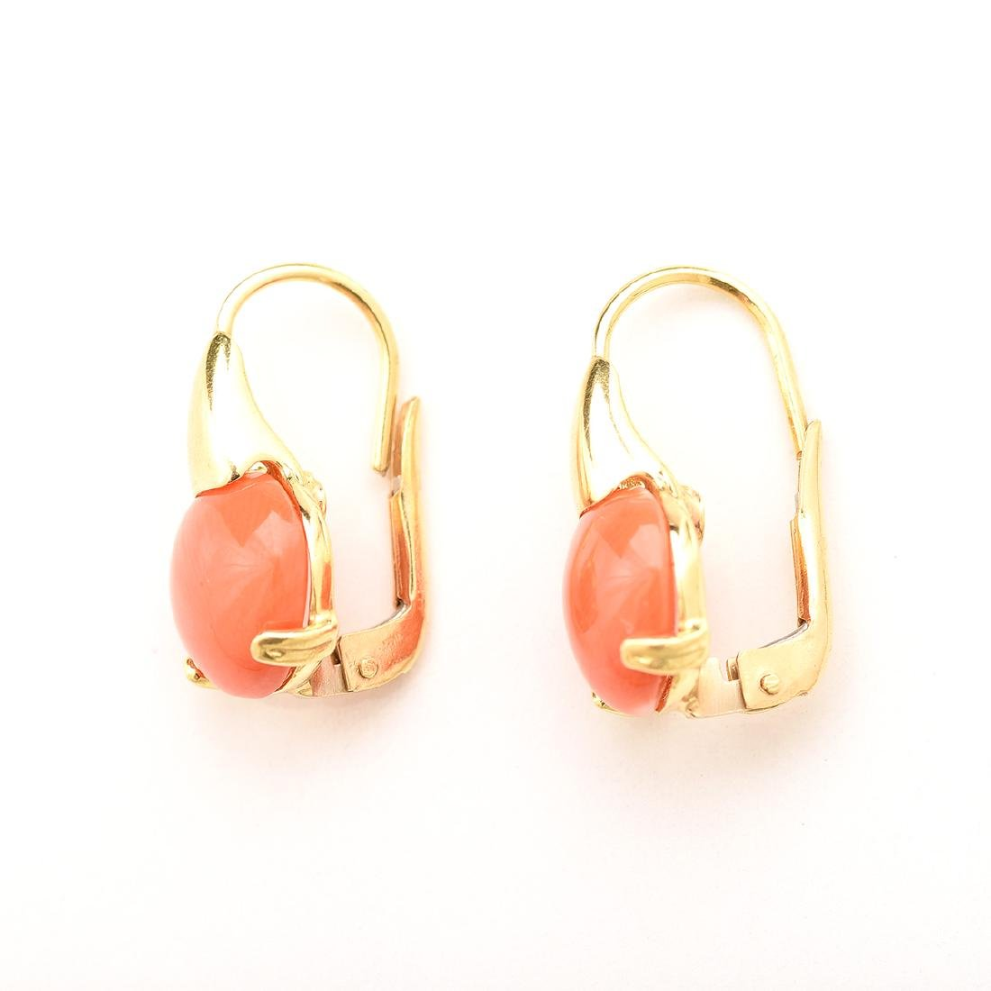 *Pair of Coral, 18k Yellow Gold Earrings. - 3