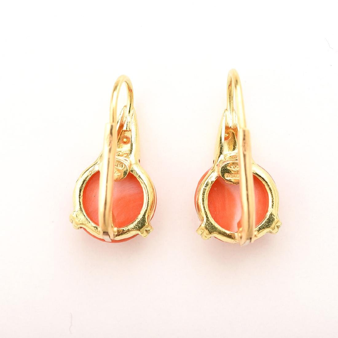 *Pair of Coral, 18k Yellow Gold Earrings. - 4