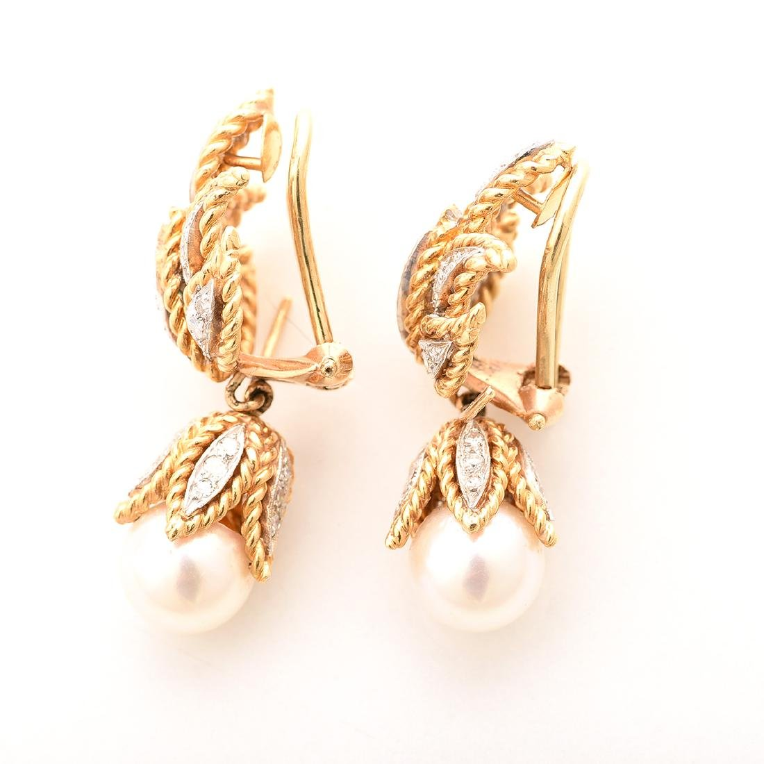 "Pair of Cultured Pearl, Diamond, 18k Yellow Gold ""Day - 3"